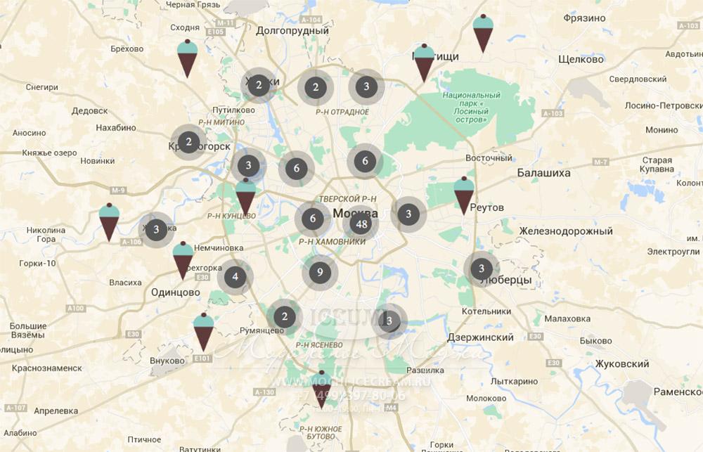 Где купить мороженое мочи в Москве. Карта